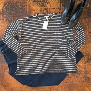 NWT Lucky Brand Burnout Striped Pocket Tee